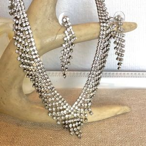 Charming Charlie's Rhinestone Necklace & Earrings